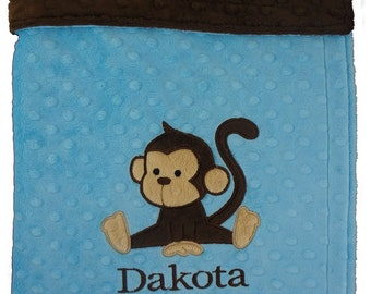 Personalized Baby Blanket, Little Monkey blanket, Turquoise & Brown Minky Blanket, Monkey Boy custom Color Blanket