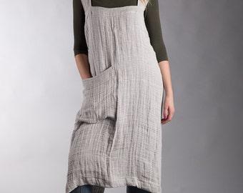Linen Japanese Apron Dress Crumpled Linen Summer Pinafore Gray Long Apron Artist Smock Natural Flax Apron Crossback
