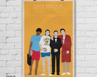 Pulp Fiction Art Print. Quentin Tarantino. John Travolta. Samuel Jackson. Harvey Keitel. Pop Culture and Modern Wall Decor. Item no. 026