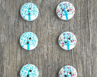 Promo: Mixed set of wooden buttons, 15mm, tree