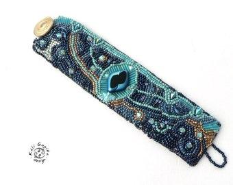 """Bead Embroidered Cuff Bracelet """" Aurora"""""""