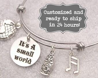 It's A Small World Engraved - DISNEY Inspired, Walt Disney World Disneyland, Fantasyland Custom Name Charm Bracelet, Mother's Day GIft