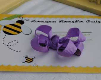 Lavender Hair Bow - Spring Bow for Baby Girl - 2 Inch Bow - Light Purple Barrette to match Easter Dress - M2M SSB - Non Slip Clip - Tiny Bow