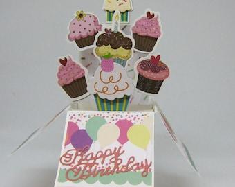Cupcake Birthday Box Card - Card in Box - Pop Up Card