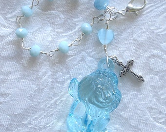 Blue Happy Lion Anglican Rosary Charm