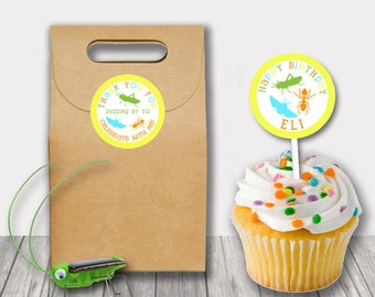 Matching Bug Insect Birthday Party Favor Tags Labels Personalized Cupcake Toppers Printable PDF