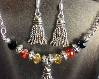 Tibetan Silver Tassel Swing Necklace, Earrings, Jewelry Set With Simmering Crystals