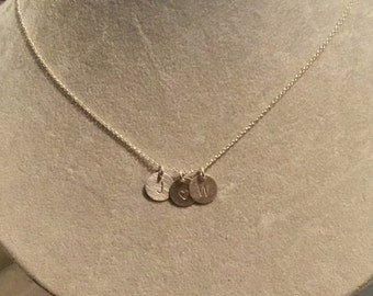 Letter / Initial Stamped Sterling Silver Necklaces -- smaller pendant  -- your choice of letter --  personalized gift Mother's Day family