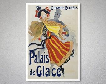 Palais de Glace by Jules Cheret -  Poster Paper, Sticker or Canvas Print / Gift Idea