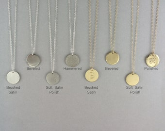 Gold Circle Necklace, Gold Disk Necklace, Silver Circle Necklace, Silver Disc Necklace, Disc Necklace, Medium Disc Necklace, 16mm LC102