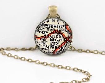 Yosemite National Park California Vintage Map Keepsake Vintage Geography Gift  Pendant Necklace or Key Ring
