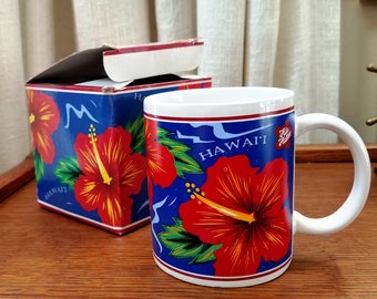 Vintage Mug Hawaiian Souvenir Coffee Cup Hibiscus Red Blue