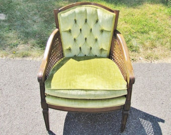 LOCAL PICKUP    Mid Century Modern Vintage Cane Chair With Tufted Cushions  Velvet Textured Upholstery
