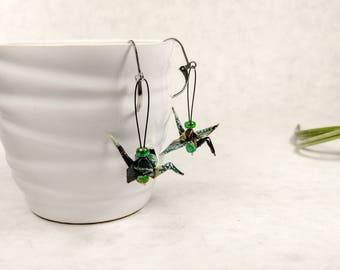 Boucles d'oreilles vertes et noires | Grue japonaise | bijou chinois | Origami par Ökibo