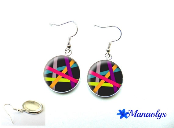 Colorful earrings, multicolored patterns, 3257 glass cabochons