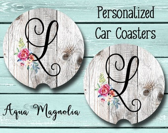 Personalized Shabby Chic Car Coaster - Floral Initial - Weathered Wood - Personalized - Car Coaster - Car Accessory - Monogrammed