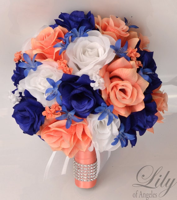 Wedding Bridal Bouquets 17 Piece Package Bouquet Silk Flowers