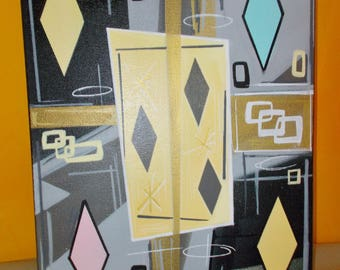 Original Painting Mid Century Modern/ Atomic Age 'Canary Yellow' Gray Pink Turquoise