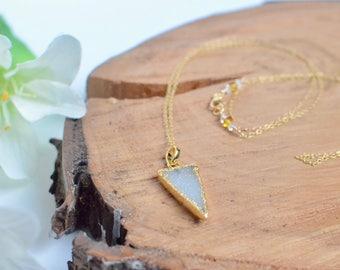 Druzy Spike Necklace, Gold Spear Necklace, Dainty Triangle Necklace