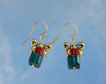 Green & Red Present Earrings-  Swarovski Crystals, Gold Bows, 14k Gold Fill Hooks- also in Silver - Christmas Holiday - free shipping USA