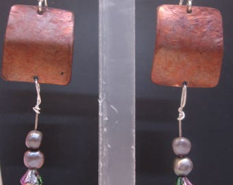 Copper Silver and Freshwater Pearl Quirky Mixed Metal Art Earrings Handmade One of a Kind by Sujati
