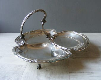 Antique French Hors d'Oeuvre Tray,Serving Dish,Silver Plated Metal.
