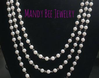 Handmade three chain beaded necklace