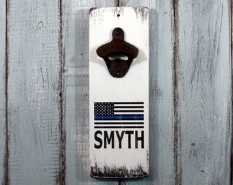 Policeman Thin Blue Line American Flag Custom Name Vintage Styled Wall Mounted Bottle Opener