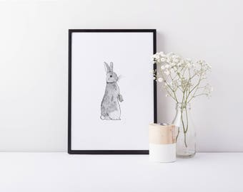 Little Rabbit A5 Vintage Style Print