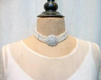 HOLD Art Deco Pearl Choker Bridal Necklace, Vintage Multi Strand Ivory Glass Pearl Ornate Pave Rhinestone Clasp Statement 1920s Wedding
