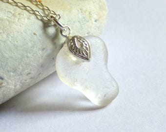 White Sea Glass Pendant, Seaglass Necklace, Sea Glass Jewelry, Ornate Pendant, Sterling Silver, Seaglass Jewellery, Beach Glass - P170014
