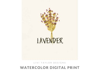 Lavender Watercolor Herb Painting Printable Art