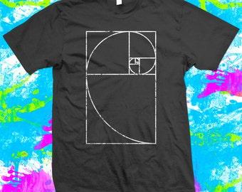 Fibonacci Spiral Mathematics Geek - T Shirt - 4 colour options - Small to 3XL