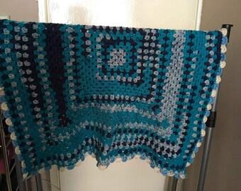 blue granny square blanket