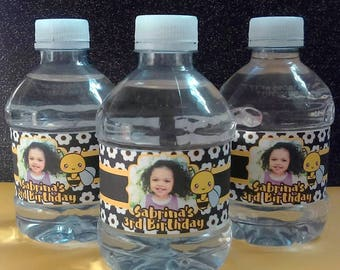 Sweet Bumble Bee Water Bottle Labels
