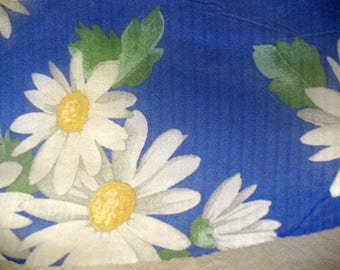 Vintage Semi Sheer Daisies Floral Print on Blue Faux Silk Fabric 2-1/2 yards, 60+ inch width