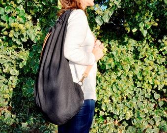Linen Bag, Large linen bag, Laundry Bag, Beach Bag, Casual Tote Bag, Linen oversized Bag, Linen Shoulder bag