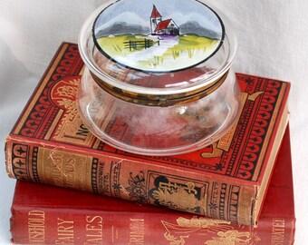 A large antique glass and enamel trinket or dresser box, rouge box, powder box, bonbonniere