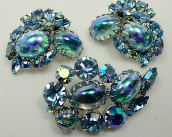 Regency Set—Beautiful Blues/Lucite Egg-shaped Cabs, Glass Rhinestones, AB-coated Glass Rhinestones