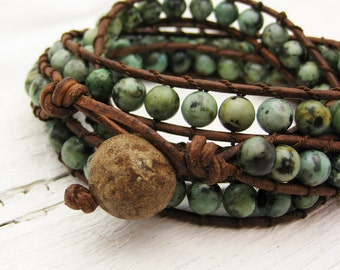 African Turquoise Leather 4x Wrap Bracelet / bohemian green mint natural woodland garden fresh fashion summer spring / silk road