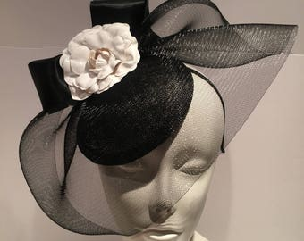 Black and white Fascinators -Kentucky Derby- Tea party- Flower Fascinator -Classic fascinator -British fascinator -Cocktail hat- Camellias