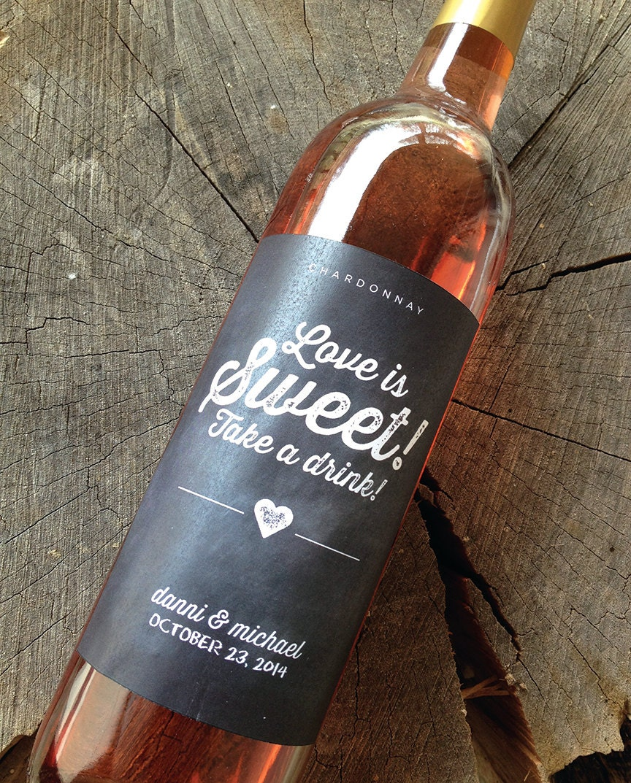 Wine Wedding: Chalkboard Style Wedding Wine Bottle Labels Wedding Wine