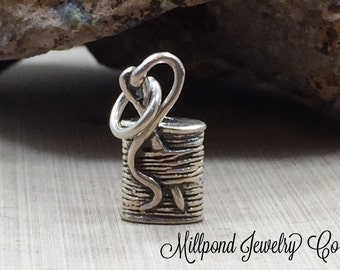 Spool of Thread Charm, Spool Charm, Sewing Charm, Needle and Thread Charm, Sterling Silver Charm, PS01237