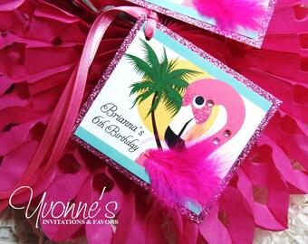 Flamingo Favor Tags (Set of 4)-Hawaiian Luau Gift-Thank You Tags for Wine Bottles/Gift Bags-Birthday, Bridal Shower, Sweet Sixteen