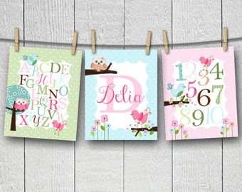Set of 3 Personalized Sweet Little Owls Alphabet and Numbers Girls Bedroom Nursery 8 x 10 ART PRINTS