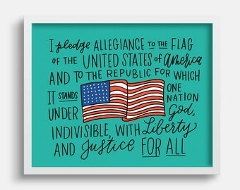 The Pledge of Allegiance Illustration Print