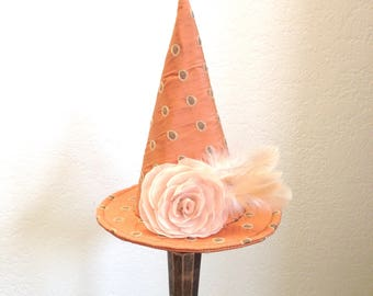 Witch Hat, Halloween Fascinate, Mini Witch Hat Vintage Orange Dots