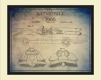 Batmobile blueprint etsy 1966 batmobile patent print wall art vintage batmobile blueprint art vintage comics vehicle malvernweather Image collections