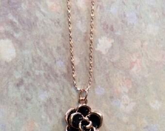 Rose Gold - Rose Gold Necklace - Rose Gold Necklace Dainty - Rose Gold Jewelry - Rose Gold Pendant - Rose Gold Flower - Black Necklace