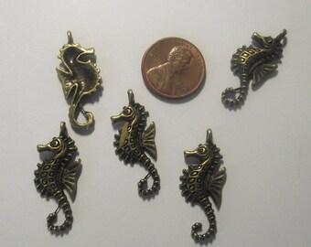 Seahorse Pendant 5 piece set Bronze/Brass/Gold Component Destash